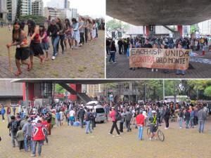 Em São Paulo, centenas de pessoas se reuníram no vão do MASP, na Avenida Paulista, para dar início a uma passeata em direção ao edifício do Ibama. A responsável pela comunicação do grupo Xingu Vivo, um dos que se uniram na manifestação, disse ter se espantado com o número de participantes. 'O ato de hoje tem uma característica especial, não tem uma coordenação central. Foram vários grupos que se mobilizaram espontaneamente, e isso mostra que a população começou a discutir a situação do Xingu', afirma. Ela lembra que já são 13 ações civis públicas movidas contra a construção de Belo Monte (Foto: Fábio Tito/G1)